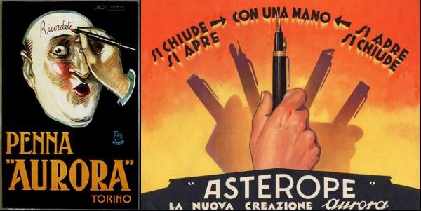 Реклама ручек Aurora довоенной поры