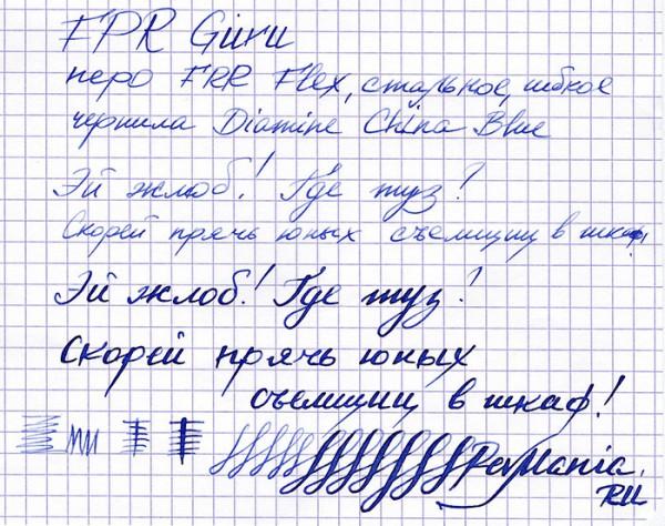 Образец письма ручки FPR Guru с пером FPR Flex (Индия)