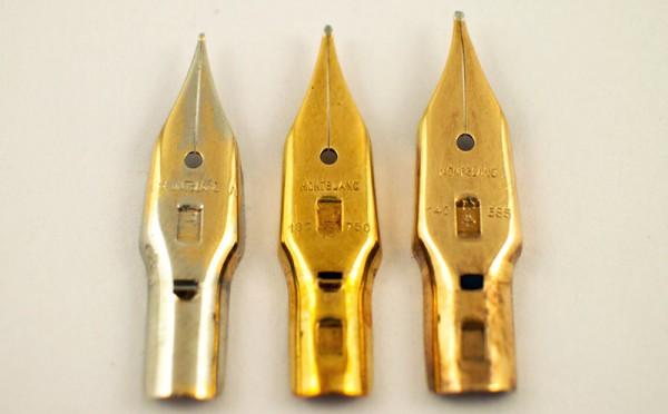 Перья Flügelfeder слева направо: стальное Montblanc 31, золотое 750 пробы Meisterstück 12, золотое 585 пробы Montblanc 24 (Германия)
