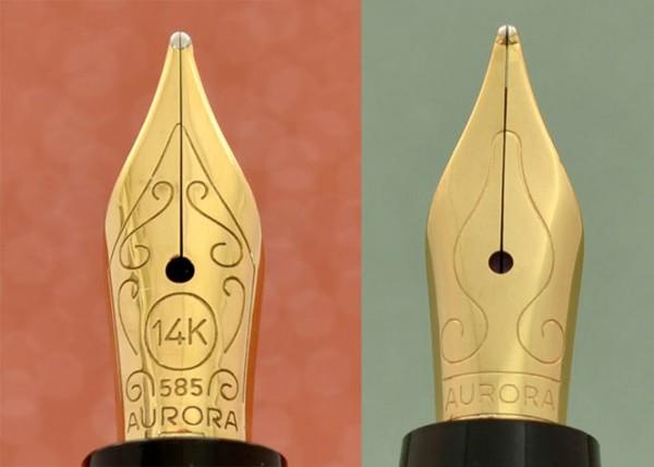 перья Aurora Ipsilon золотое и стальное