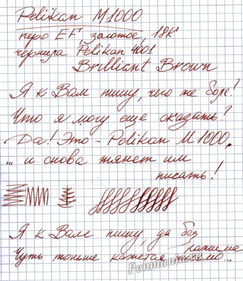 Образец письма Pelikan M1000 EF