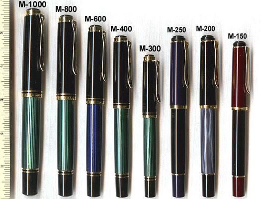 сравнительные размеры преьевых ручек Pelikan
