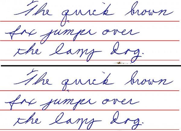 На пути к красивому почерку. Линия расположения нижнего выносного элемента или Descender line ясно показывает, что «ноги» не должны быть разной длины