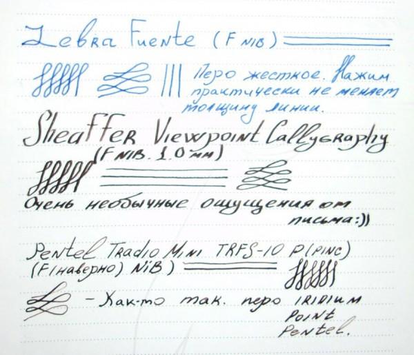 Недорогие перьевые ручки Sheaffer Viewpoint, Pentel Tradio, Zebra Fuente