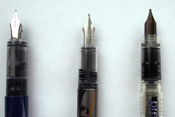 Сравнение перьевых ручек Pilot Vpen, Platinum Preppy, Zebra Fuente (Япония)