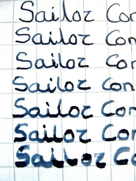 образец письма пером Sailor Naginata Concord Emperor (Япония)
