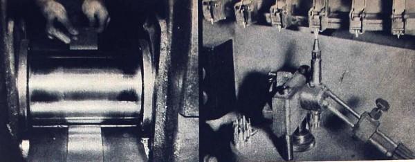 Перья ручек Sheaffer изготавливаются из золота 14 Карат, которое раскатывается в листы на небольшом роликовом прессе (слева). Всего перо проходит через 95 операций, большей частью - ручных. Справа: Наконечник пера изготавливается из осмиридиевого сплава. Наконечник соединяется с золотым основание пера при температуре около 1000 градусов Цельсия, при этом золото расплавляется и надежно соединяется с тугоплавким наконечником.