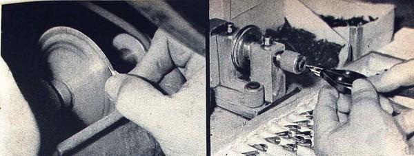 Sheaffer. Секреты производства. Разрезание пера - весьма щекотливая операция. Перо придвигается, с давлением, к тонкому медному диску, вращающемуся с высокой скоростью. Чистоте и точности реза помогают глицерин, карборунд и вода.