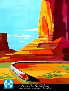 поезд Super Chief плавно поворачивает на равнине Santa Fe