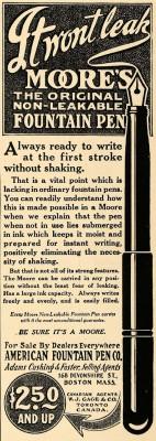 Реклама ручек Moore начала XX века