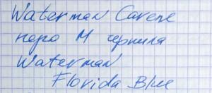 образец письма Waterman Carene перо M